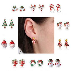 Fashion-Women-Hot-Rhinestone-Pierced-Christmas-Tree-Deer-Earrings-Ear-Stud-Gift