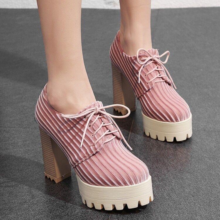 655bc1af Casual para para para mujeres Con Cordones Puntera rojoonda Correa De Bloque  Tacones Altos Plataforma Zapatos ...