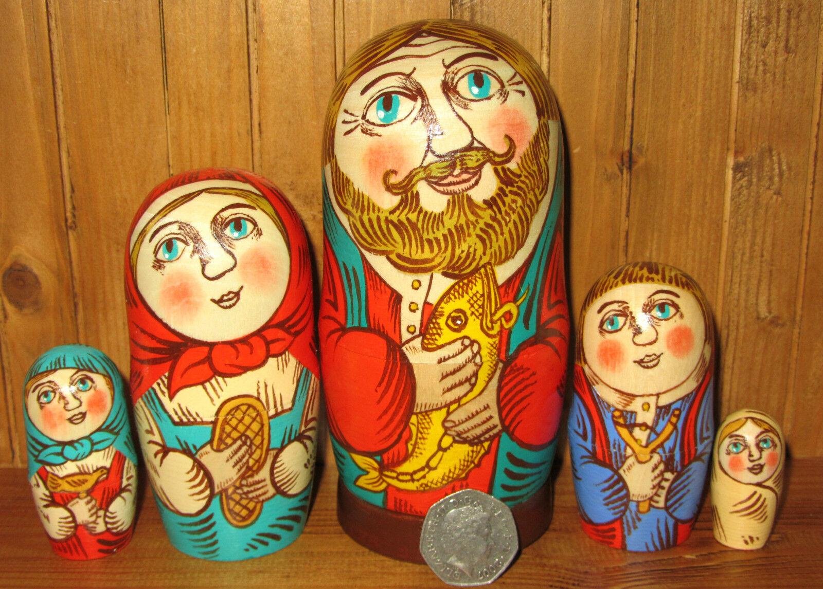 Nidificazione Bambola Russa Matryoshka Family 5 artista MADE  Mercato  PAPA 'e pesci firmato