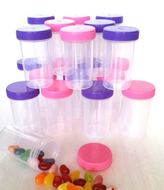 20 Empty Pill Bottles Party Event Favor Jars Pink Purple Caps GLOBAL Holds 2 oz