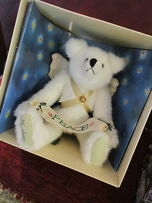 "Artist Manufactured Signed Carol Carini 11"" Tall '95 Green Mountain Peace Angel Bear Mary Meyer Mib"
