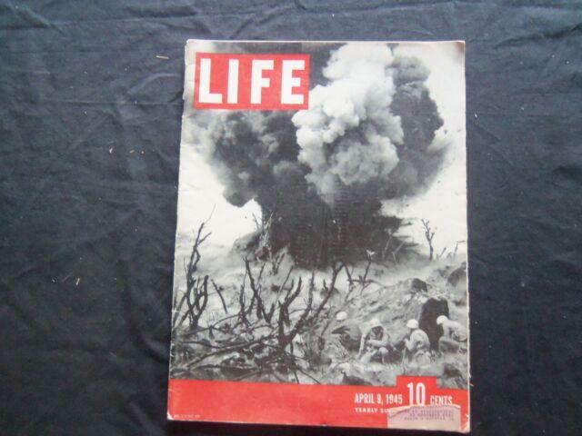 1945 APRIL 9 LIFE MAGAZINE - IWO JIMA EXPLOSION - L 438