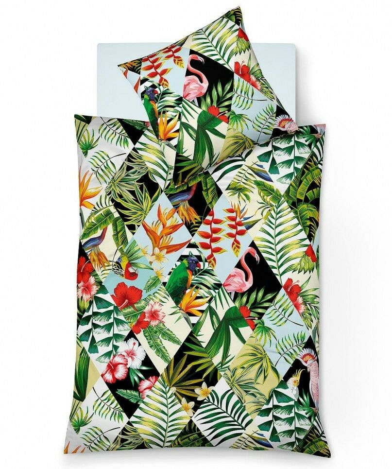 Fleuresse Bettwäsche 100% Baumwolle Flamingo Papagei Dschungel 135x200 - 155x220