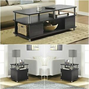 Details about 3 Piece Dark Brown Living Room Coffee End Table Set Home  Accent Furniture Den