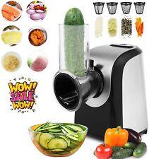 MeyKey Electric Salad Maker Slicer Fruit Cutter Vegetable Grater Chopper 4 Cones