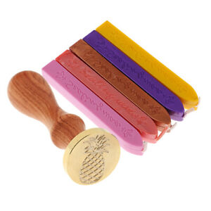 Collectible-Seal-Wax-Stamp-Sealing-Pineapple-Round-Stick-5Pcs-for-Invitation