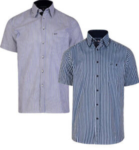 MENS-KAM-BIG-TALL-SIZE-SHORT-SLEEVE-STRIPE-STRIPED-DRESS-SHIRT-SHIRTS-2XL-8XL