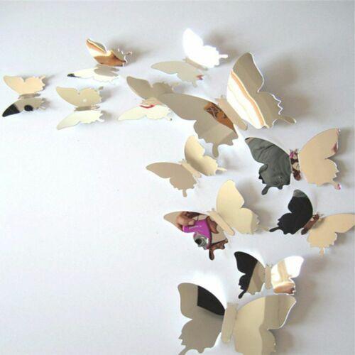 12pcs//set Mirror Wall Stickers Decal Butterflies PVC Mirror Wall Art Home Decor