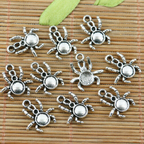 26pcs tibetan silver color spider design charms EF2348