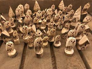 Natale-RUSTICO-Intagliato-Gufo-Decorazione-Albero-di-Natale-in-legno-naturale-da-appendere-intaglio