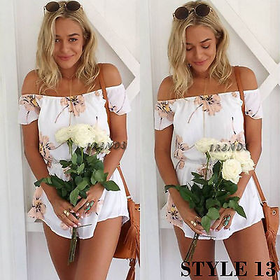 UK Womens Holiday Mini Playsuit Ladies Jumpsuit Summer Beach Dress Size 6 - 14