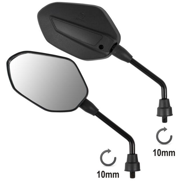 Coppia Retrovisori Specchietti Specchi Moto Scooter Nero DX + SX 10 mm M10