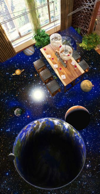 3D pianeta stella Pavimento Foto Wallpaper Murales Muro Stampa Decalcomania