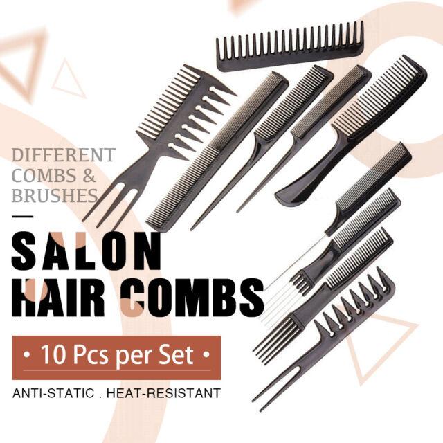 10Pcs/Set Beauty Salon Hair Styling Hairdressing Plastic Barbers Brush Combs AU