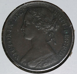 Nice-Great-Britain-1860-Penny-Almost-Uncirculated-with-some-Carbon-Spots