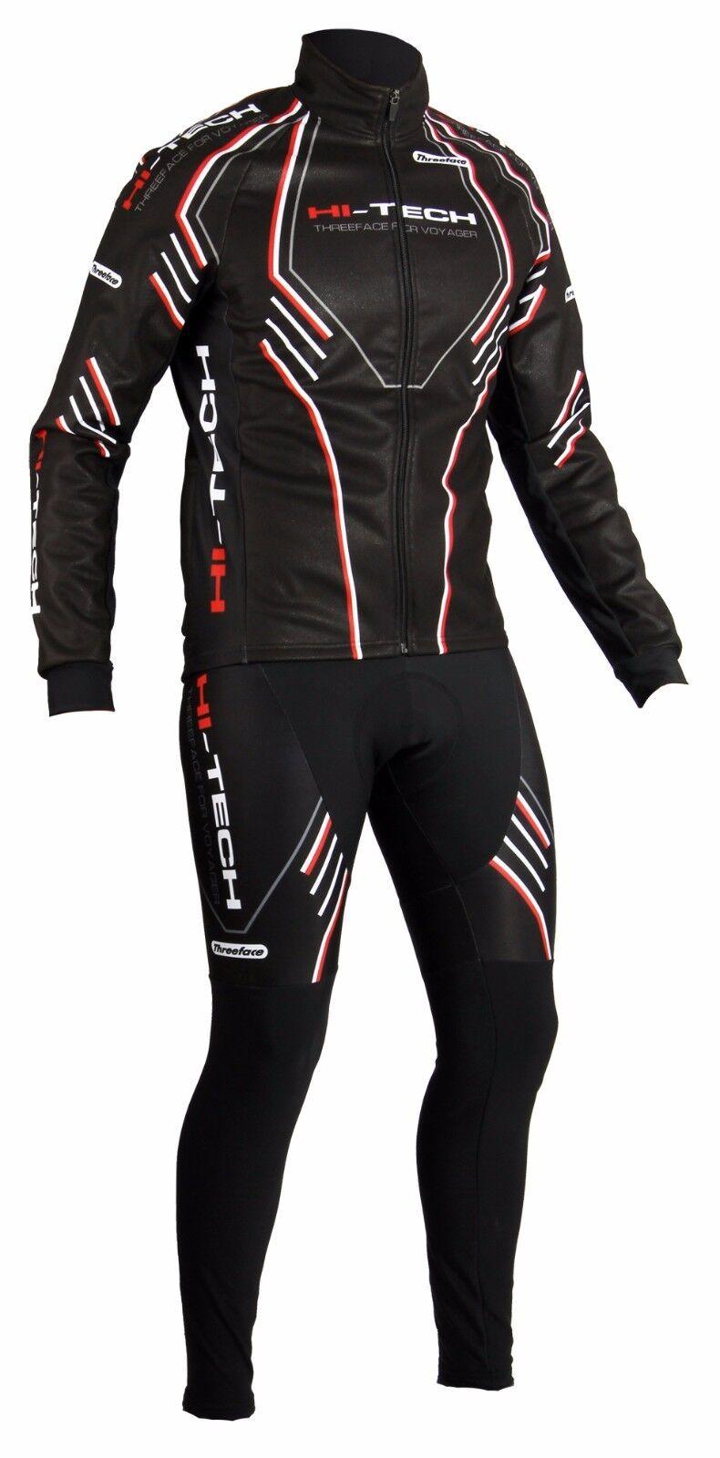 Completo invernale ciclismo giubbino + salopette termico giacca pesante hitech