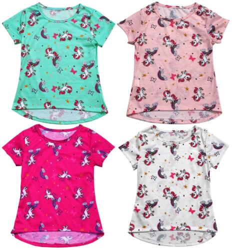 Girls Unicorn Horse Rainbow Star Butterfly Summer T-Shirt Top 1 to 10 Years