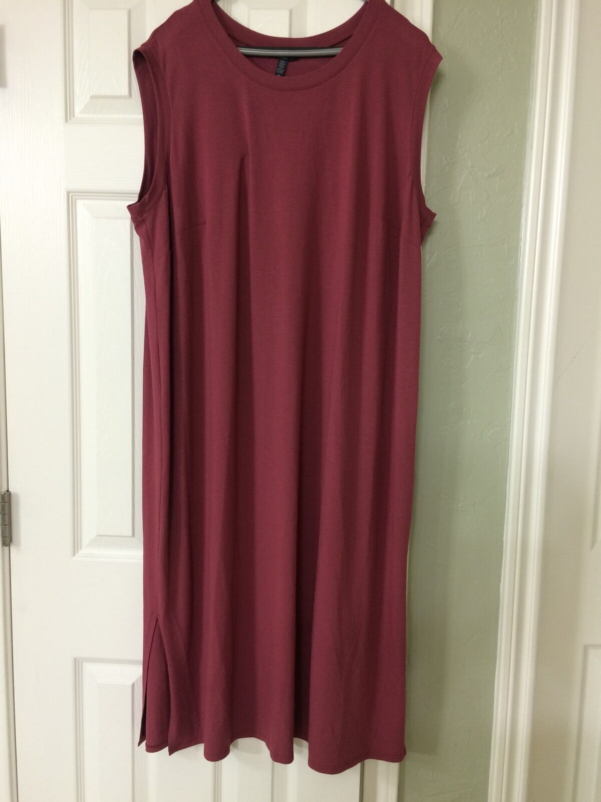 PL NWT Eileen Fisher RosaWOOD Viscose Jersey Round Neck Calf Lenght Dress