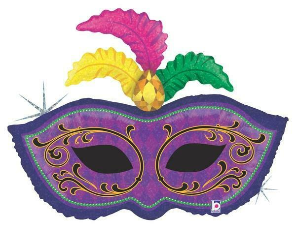 """Mardi Gras Mask Holographic 34"""" Holographic Foil Balloon"""