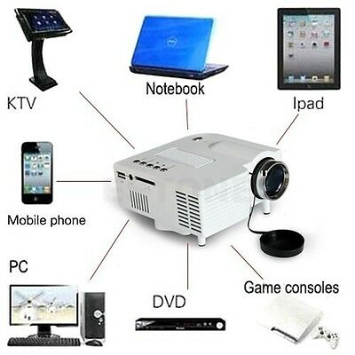 Multimedia LCD LED Projector HD 1080P PC TV VGA USB HDMI For Home Cinema Theater