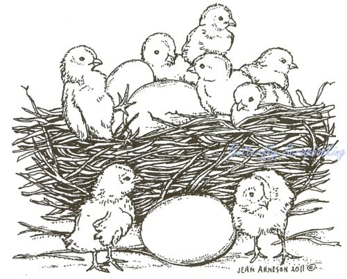 Wood Mounted Rubber Stamp NORTHWOODS M7938 NEW Chicks In Nest With Eggs