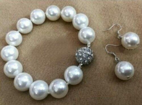 12 mm blanc Akoya Shell Pearl PERLES rondes Bracelet Boucles d/'oreilles Set AAA