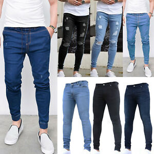 Mens-Ripped-Denim-Jeans-Frayed-Destroyed-Stretch-Casual-Skinny-Pants-Trousers