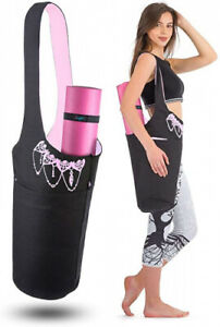 (Black & Pink) - Zenifit Yoga Mat Bag - Long Tote with Pockets - Holds More