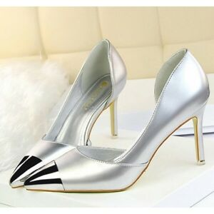 Eleganti Spuntato Silver Donna Comodi 8 Simil Sandali Cm Cw629 Pelle 5 Decolte 1qTwOpn