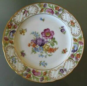 Schumann Germany Empress 7 3/4 Salad Plate Dresden Flowers Excellent Condition