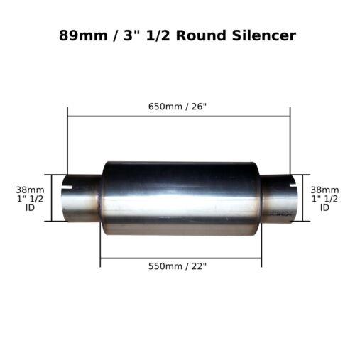 """alésage 3,5 /""""x 22/"""" pince en acier inoxydable d/'échappement silencieux Case corps 1 /"""" 1//2 38 mm"""