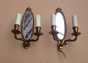 Elegante-ancienne-paire-d-039-appliques-a-miroir-en-bronze-Etat-de-marche