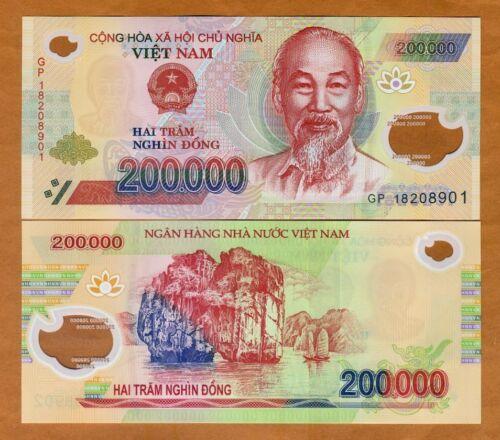 Vietnam 200,000 dong 2018 UNC P-123i Polymer