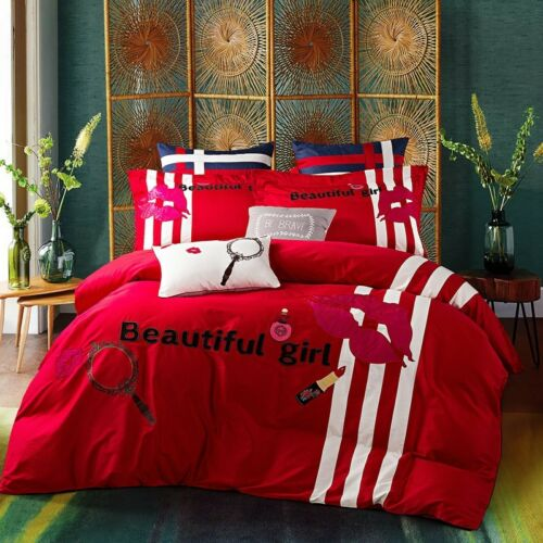 Egyptian Cotton Beautiful Girl Queen King Embroidered Lips Duvet Cover Set 4pc