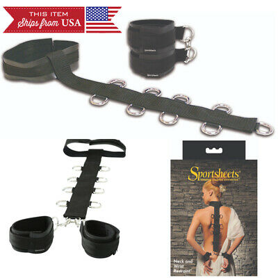 Neoprene Collar to Wrist Restraint Strap Cuffs Bondage Black BDSM Handcuffs REAL