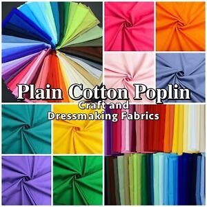 100-COTTON-POPLIN-SOLID-PLAIN-Dressmaking-Craft-Fabric-Material-60-Colours