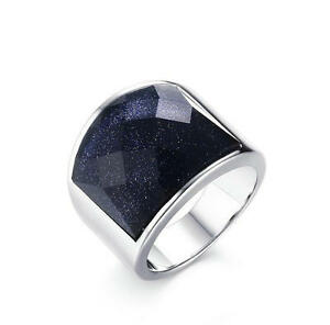 Mens-19MM-Stainless-Steel-Wedding-Ring-Blue-Sandstone-Anniversary-Band-Size-8-12
