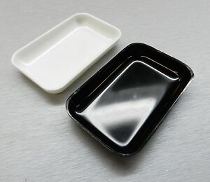 White Black Plastic Tray Beads Gemstones 2 Small Open Trays