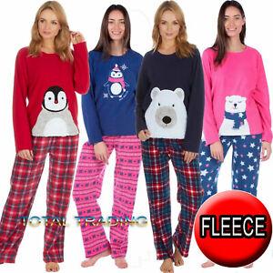 Ladies-Womens-Pyjamas-pj-Set-Long-Sleeve-Top-Nightwear-LoungeWear-WARM-FLEECE