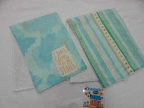 Burp Cloths Moon and Back Aqua 2 Pack Toweling Backed GREAT GIFT IDEA!!