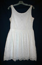 Aqua Womens L Winter White Lace Eyelet  Fit & Flare Sleeveless Dress NWT