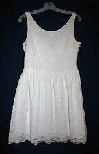 Aqua Womens L Winter White Lace Eyelet  Fit & Flare Sleeveless Dress NWT
