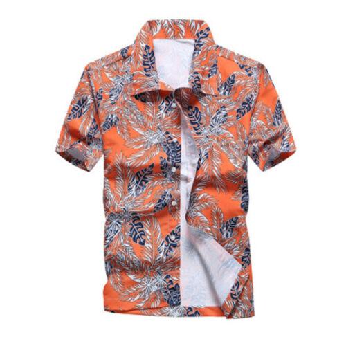 US Mens Hawaiian Shirt Summer Beach Hawaii Party Holiday  Button Tops Tee Shirt