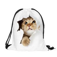 Damen Kinder 3D Katze Sportbeutel Beutel Tasche Rucksack Sporttasche Geschenk