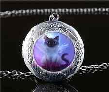 Love Cat Cabochon Tibetan silver Glass Locket Pendant Necklace HZ-5719