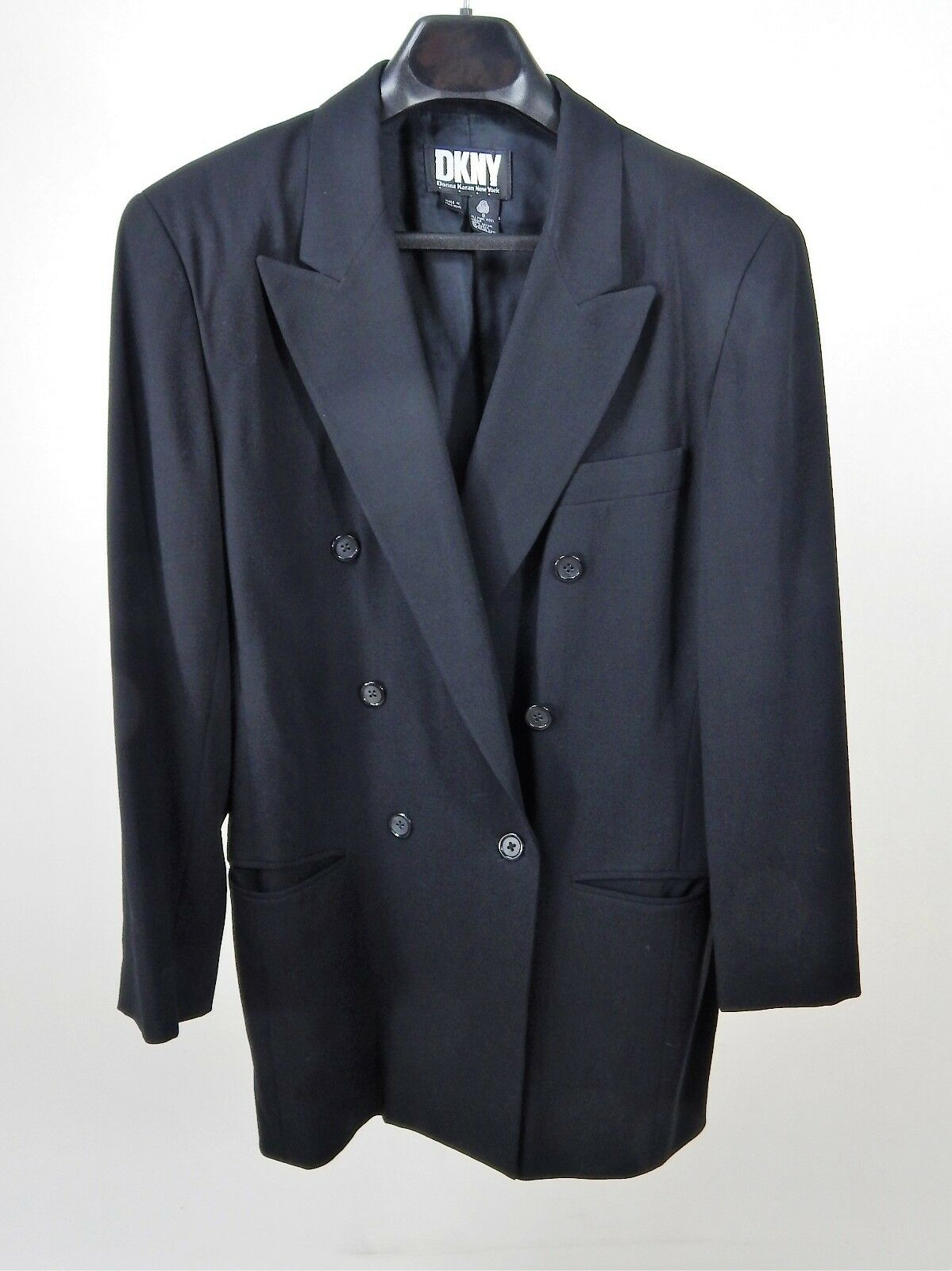 DKNY 100% Wool Double Breasted Long Blazer Lined Size 8