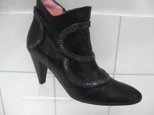 Jane de botines negros talla Chick Rock Brown de cuero Damas dise Uk 38 ador 5 twqRpY4