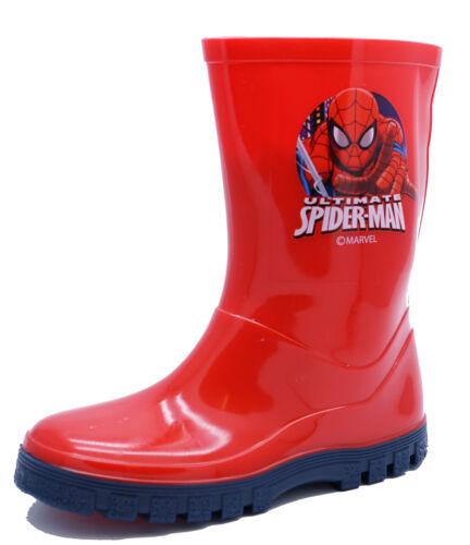 BOYS MARVEL RED SPIDERMAN SPLASH WELLIES RAIN WATERPROOF BOOTS SHOES SIZES 7-1