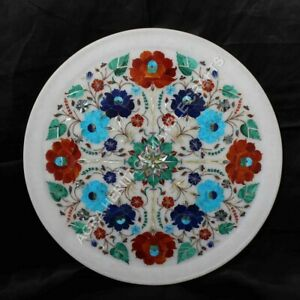 """15"""" Marble Serving Plate Multi Floral Inlay Marquetry Kitchen Gift Decor E1389"""