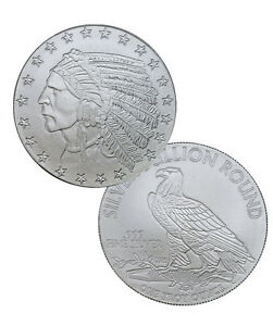 Indian Head Incuse 1 Troy Oz 999 Fine Silver Round